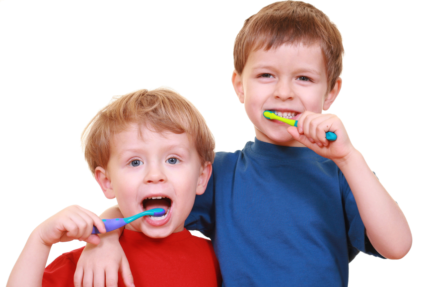 Children brush their teeth