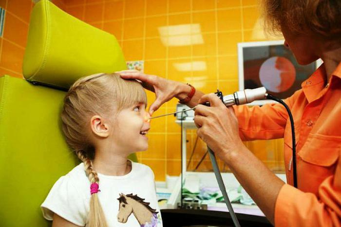 treatment of adenoids in a child with a laser
